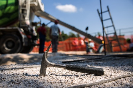 Shallow foundations are being made for the construction of precast concrete sport hall.