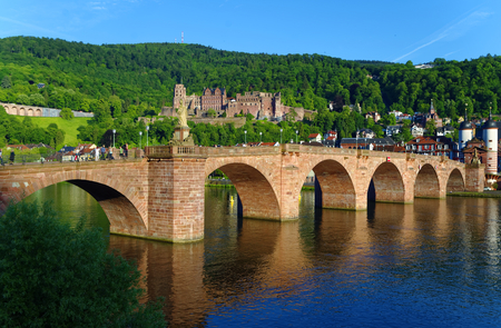 Heidelberg bridge over the River Neckar in sunshine
