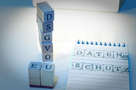 Building Blocks DSGVO (General Data Protection Regulation) in English GDPR (General Data Protection Regulation) in blue introducing the GDPR in the EU on 25.05.2018
