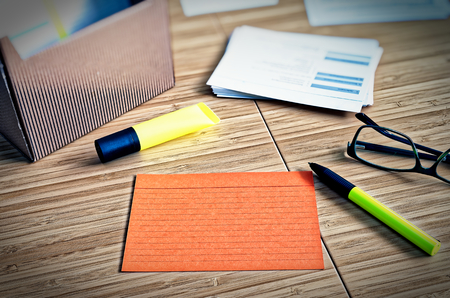 Index cards with legal issues with glasses, pen and bamboo Reklamní fotografie
