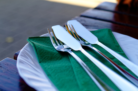 Cutlery in a restaurant with green napkin, fish knife, fork and plate Reklamní fotografie