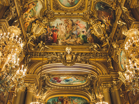 Beautiful ceiling and interior in the Opera Paris in French L Opera