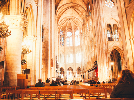Interior of the Notre Dame in Paris. France. Europe with church windows and modern optics
