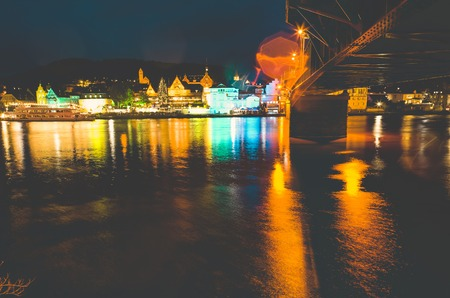 Traben-Trarbach at the time of the Christmas market in Germany in 2018 with the banks of the Moselle Stock Photo
