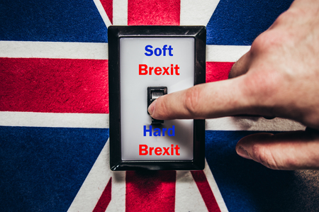 Switch with Brexit and England flag and inscription Soft Brexit and Hard Brexit