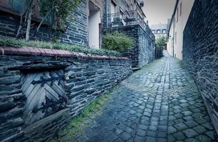 Narrow old alley in Traban-Tarbach on the Moselle in Germany Rhineland-Palatinate
