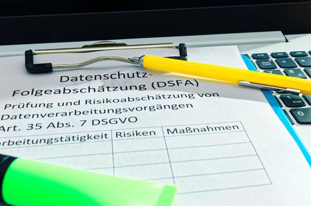 Blackboard german Datenschutz-Folgeabschätzung (DSFA) in english Privacy impact assessment