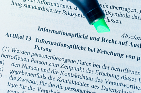 Legal text without copyrights with article 13 DSGVO (Datenschutzgrundverordnung) in german GDPR General Data Protection Regulation