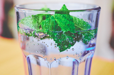 Glass with water bubbles and mint Standard-Bild - 124811603
