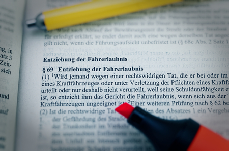Legal text in German Paragraph § 269 StGB Strafgesetzbuch Entziehung der Fahrerlaubnis in English Paragraph § 69 StGB Withdrawal of the driving license Standard-Bild - 124811610