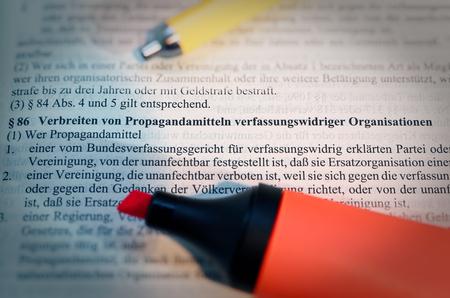 Legal text in German Paragraph § 86 StGB Strafgesetzbuch Verbreiten von Propagandamitteln verfassungswidriger Organisationen in English Paragraph § 86 StGB Disseminating propaganda of unconstitutional organizations Standard-Bild - 124811631