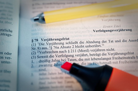 Legal text in German Paragraph § 78 StGB Strafgesetzbuch Verjährung in English Paragraph § 78 StGB limitation Standard-Bild - 124811634