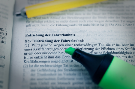 Legal text in German Paragraph § 269 StGB Strafgesetzbuch Entziehung der Fahrerlaubnis in English Paragraph § 69 StGB Withdrawal of the driving license Фото со стока