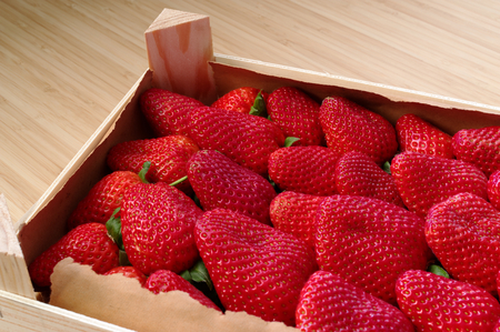 Strawberries freshly harvested in a wooden box, beautiful red and fresh Standard-Bild - 124811665