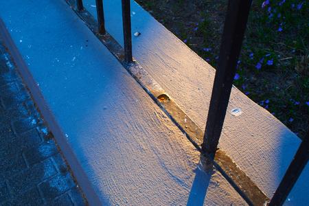 Railing of a house on the sidewalk with rust Standard-Bild - 124811679