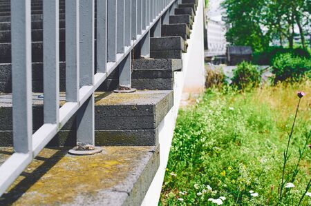Stairs in a city with step and meadow in the background in Saarbrücken Saarland