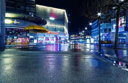 Night and downtown in Saarbruecken Saarland Germany Europe with busy street at 2016.01.10