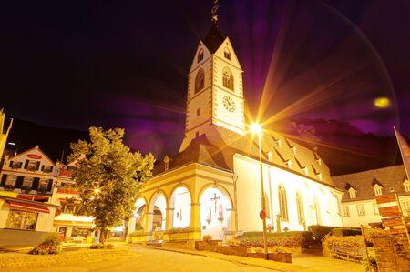 Kloster Bornhofen at night in Kamp-Bornhofen am Rhein in Rhineland-Palatinate Germany Europe photographed on 2019-08-15