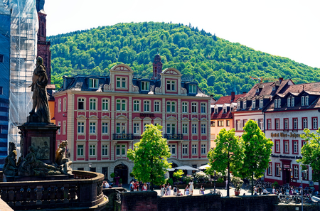 Heidelberg in Baden-Württemberg in Germany in sunshine with the Heidelberg Castle in the background