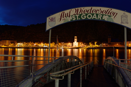 St. Goarshausen on Rhine at St. Goar Rhineland-Palatinate Germany Europe with ferry photographed on 2019-08-16