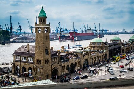 Hamburg harbor and jetties by day at noon in summer in Germany Europe photographed on 08/16/2015 Standard-Bild - 138471010