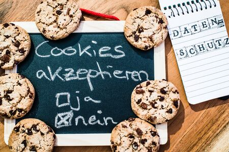 Accept cookies with a tablet to illustrate cookie banners for websites with cookies in German Cookie-Banner rechtskonform? in English Cookies accepted yes no privacy