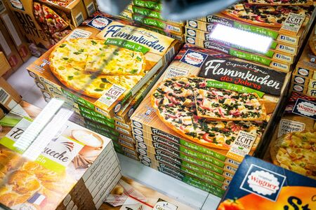 Ready-made pizzas in a freezer in Germany to illustrate ready meals