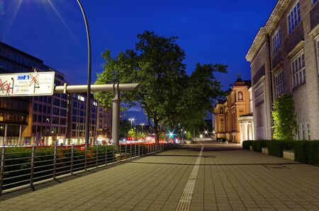 Exterior view of the Hamburger Kunsthalle in Hamburg Germany Europe at night Photo bought on July 10th, 2017