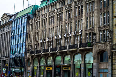 Hamburg facade Alsterhaus in Germany photographed on 08.15.2015