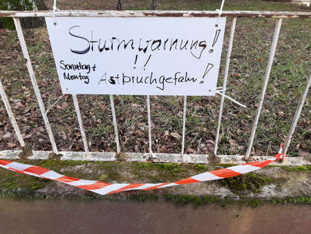 Sign with a warning of storm Sabrina in Saarbruecken Germany Europe photographed on 02/10/2020