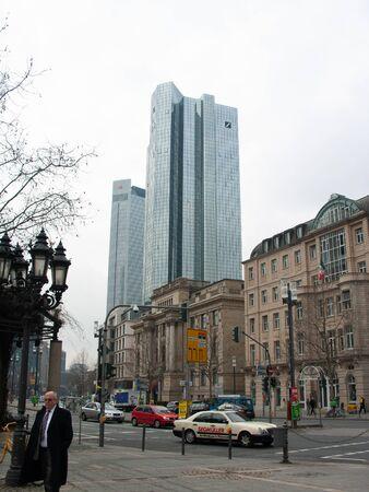 Frankfurt skyline with Deutsche Bank Tower from Maintower on 2011.03.14 Standard-Bild