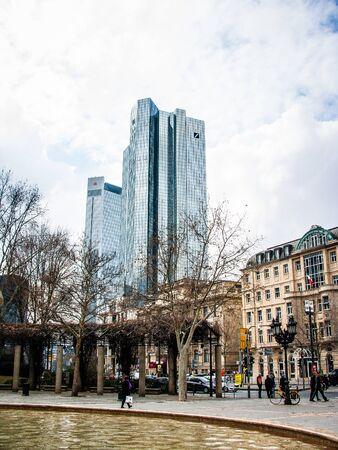 Frankfurt skyline with Deutsche Bank Tower from Maintower on 2011.03.14