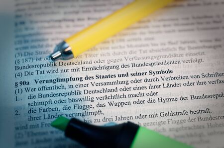 Legal text with § 90a StGB German law Verunglimpfung des Staates und seiner Symbole in English Disparagement of the state and its symbols Standard-Bild