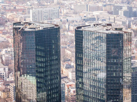 Frankfurt skyline with Deutsche Bank Tower from Maintower on 2011.03.14 Editorial