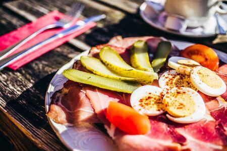 Ham bread with raw ham and salad garnish