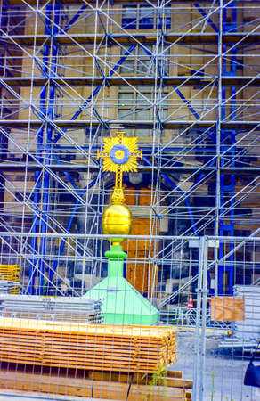 Dome cross of the Frauenkirche in Dresden during the last construction work on the construction site photographed on June 21, 2004 in Dresden Saxony Germany