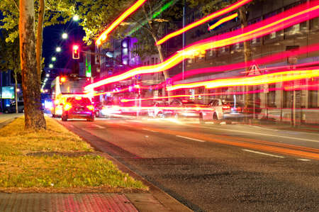 Night and downtown in Saarbrücken Saarland Germany Europe with busy street at 2019.07.24 Standard-Bild - 155555668