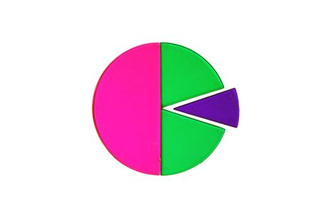 emphasized: Pie chart with section emphasized. Stock Photo