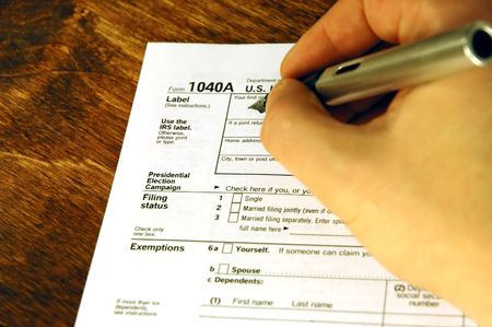 exemption: Filling out a tax form
