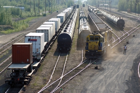 haul: Train connects to coal cars Stock Photo