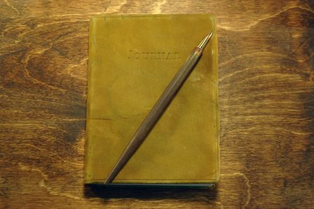 Leather bound journal with pen