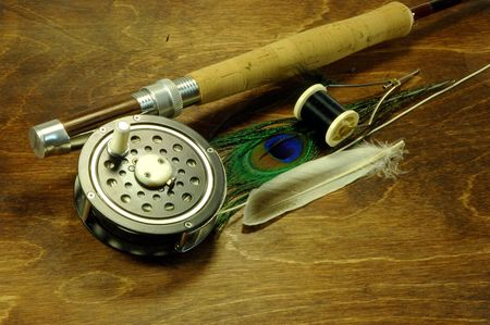 fishingpole: Fly fishing rod with fly tying items