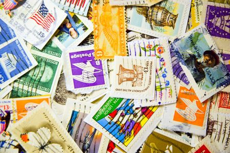 philately: A collection of U.S. stamps in a pile