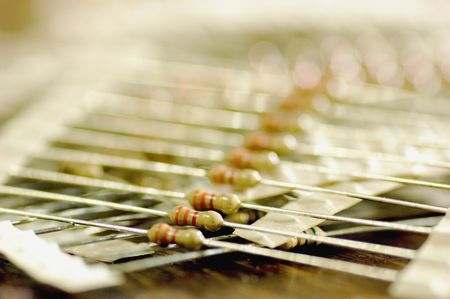 A pile of resistors. Shallow depth-of-field.