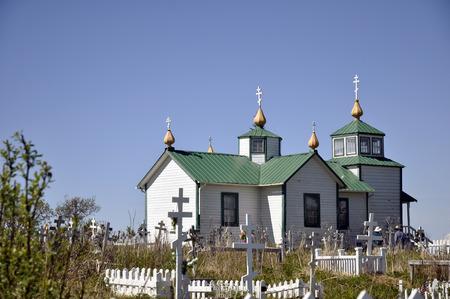 hiway: Russian Orthodox Church at Ninilchik, Alaska, along the Seward Hiway  Stock Photo