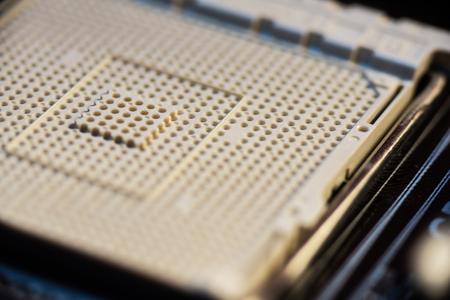 Empty ZIF socket on a motherboard.