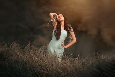 wood nymph: Fantasy fairytale and beautiful woman - wood nymph among tall grass and rays of light Stock Photo