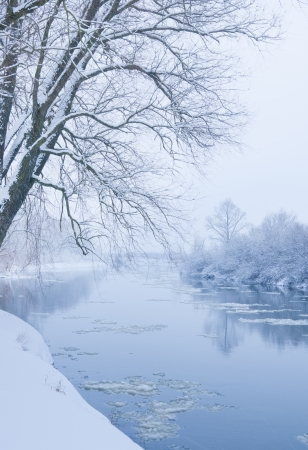 winter river, when it is snowing photo
