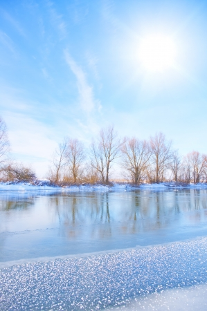snow-covered winter river  photo