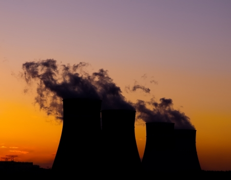Silhouette of the nuclear power plant after sunset Stock Photo - 18064974